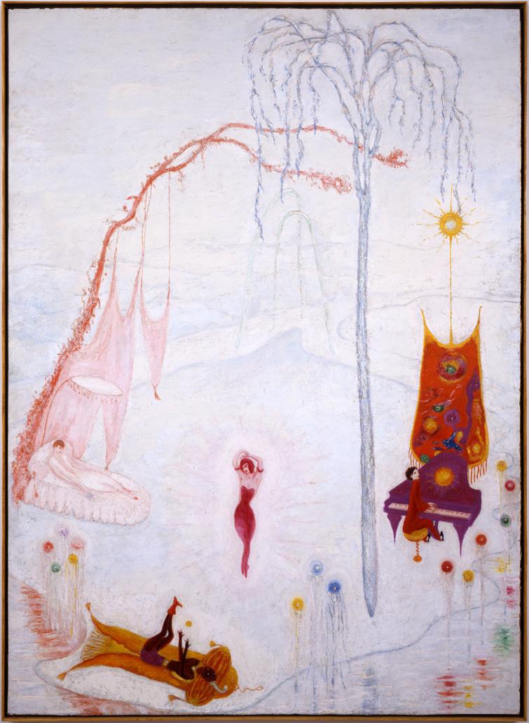 Florine Stettheimer, 'Music,' circa 1920 oil on canvas, Rose Art Museum, Brandeis University, Gift of Joseph Solomon, New York. Image courtesy of Rose Art Museum.