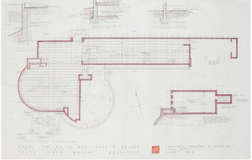 Drawing/rendering of the Duey Wright House, signed by Frank Lloyd Wright, estimated at $6,000-$7,000