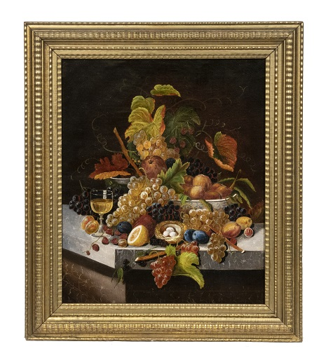 Still life of fruit by Severin Roesen, estimated at $25,000-$35,000