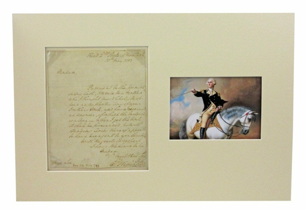 Letter by George Washington, addressed to Miss Sidney Lee, estimated at $18,000-$20,000