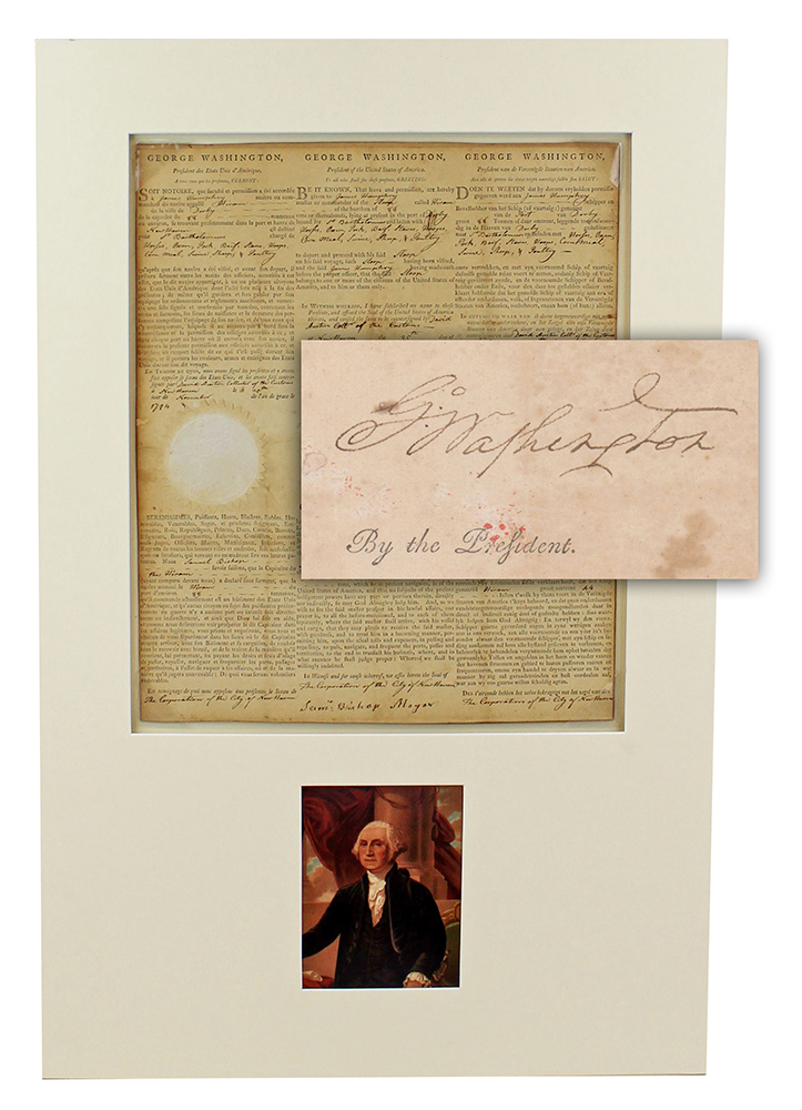 Ship's paper featuring three languages and signed by President Washington, which sold for $15,000