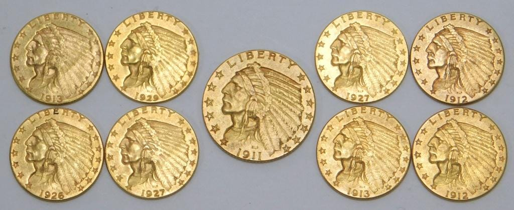 Group of nine U.S. two-and-a-half dollar gold coins, estimated at $600-$900