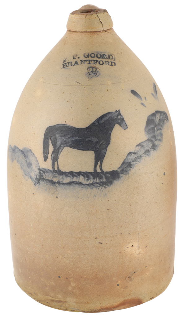Three-gallon F. P. Goold jug featuring a race horse decoration, which sold for CA $20,060