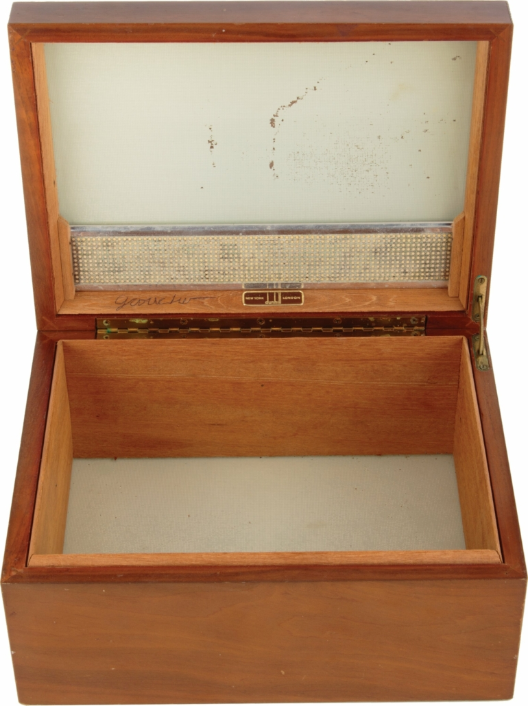 Groucho Marx-owned and signed Dunhill humidor, estimated at $1,000-$1,000,000
