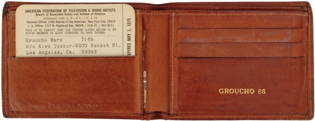 Groucho Marx wallet with his 1975 AFTRA card, estimated at $1,000-$1,000,000