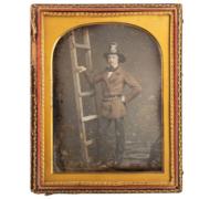Half plate daguerreotype of firefighter Walter Van Erven Dorens, estimated at $15,000-$25,000