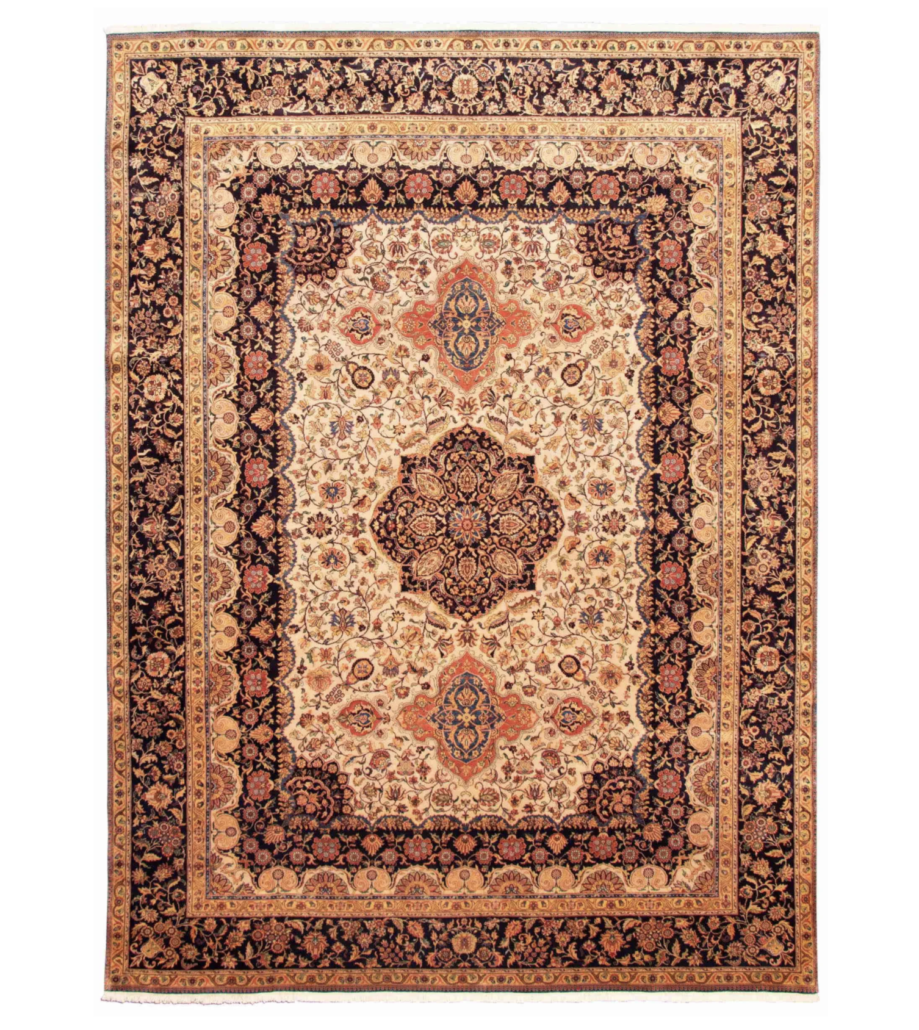 Hand-knotted light khaki wool rug, estimated at $3,500-$4,000