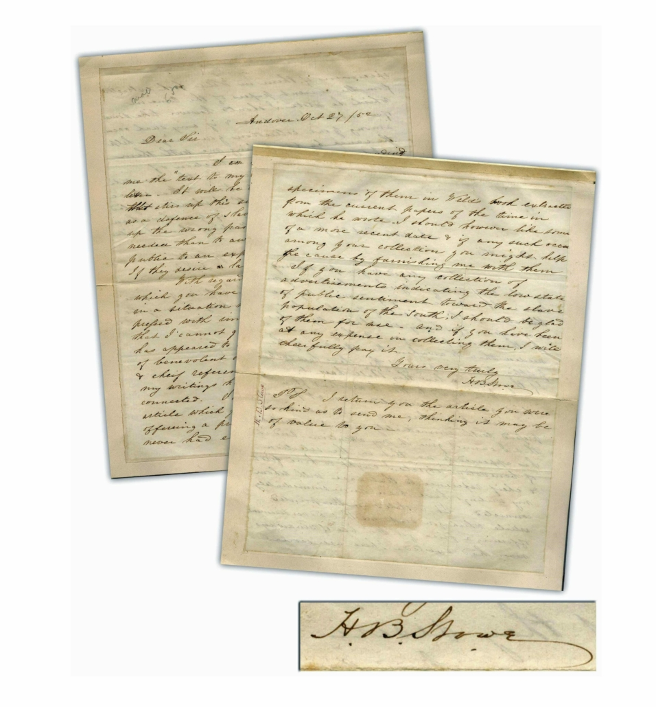 1852 letter by Harriet Beecher Stowe featuring discussion of slavery, estimated at $6,000-$7,000