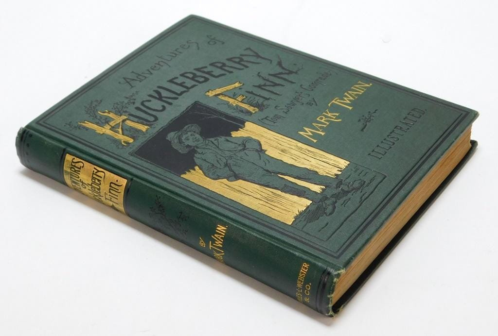 First-edition copy of 'The Adventures of Huckleberry Finn,' estimated at $1,000-$1,500