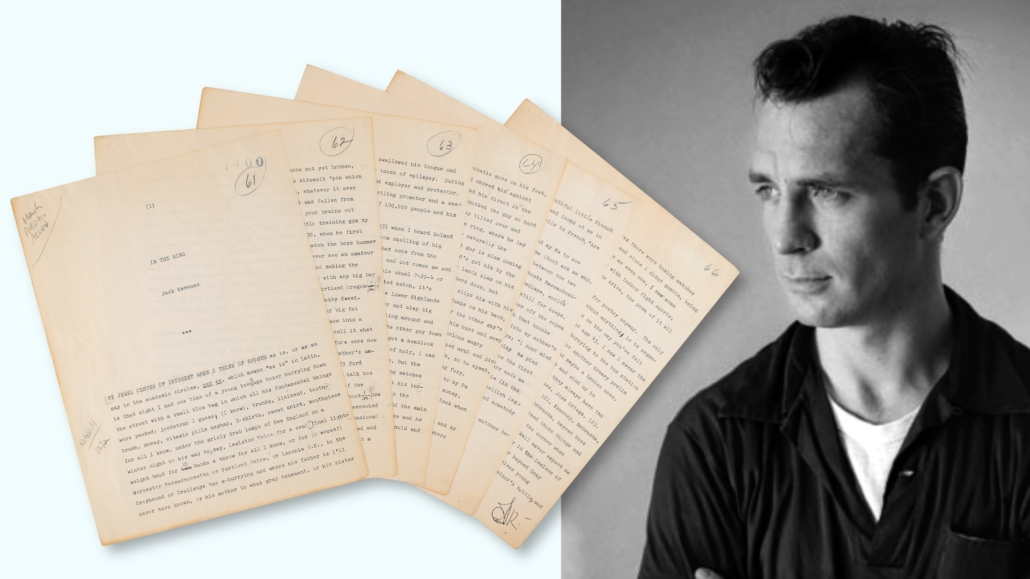 Jack Kerouac hand-corrected and signed six-page typed manuscript proof, estimated at $50,000-$60,000