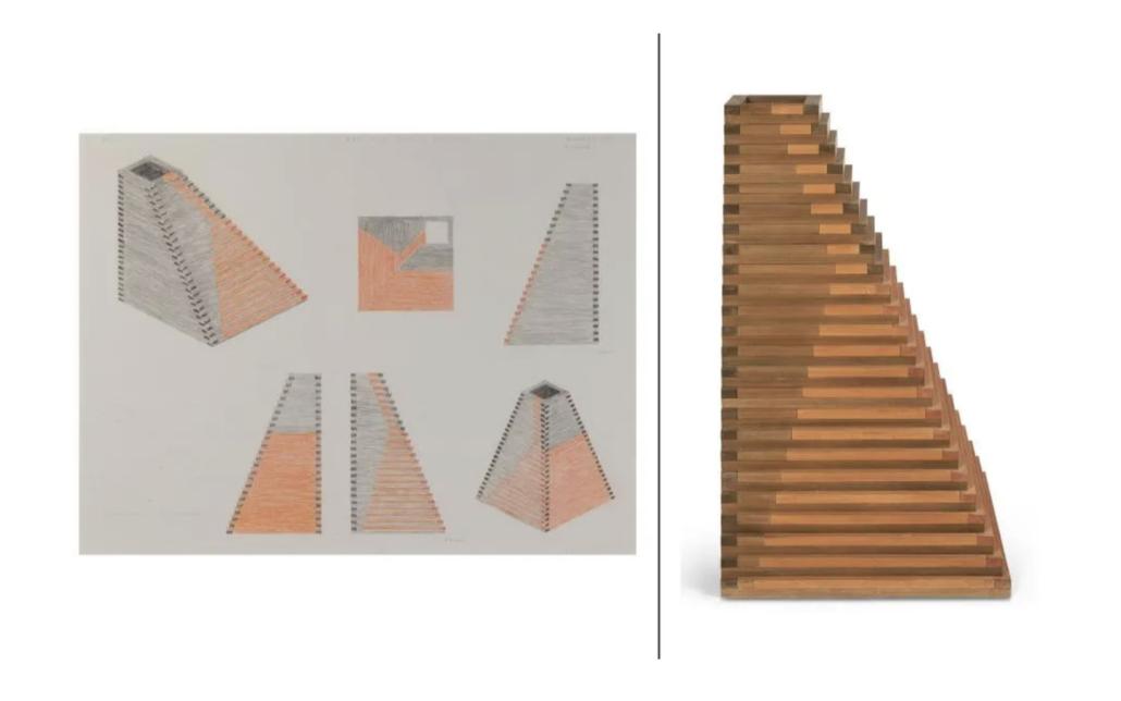 Jackie Ferrara, 'Red and Black Pyramid 277,' estimated at $4,000-$6,000. Courtesy of Doyle New York Images LTD 2021