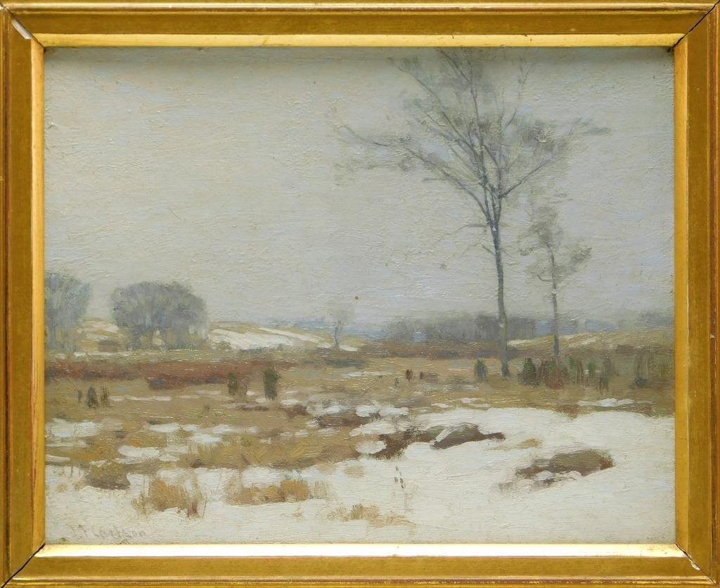 Tonalist winter scene by John Fabian Carlson, estimated at $1,000-$2,000
