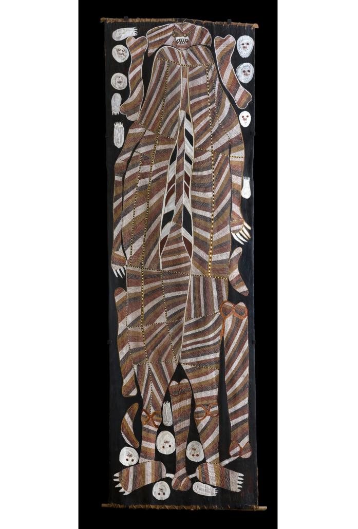 John Mawurndjul, 'Buluwana, Female Ancestor,' 1989, Image courtesy Museum of Contemporary Art Australia, photograph: Jessica Maurer © John Mawurndjul / Copyright Agency