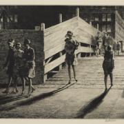 Martin Lewis, 'Fifth Avenue Bridge,' which sold for $10,838. Courtesy of Bonhams Images Ltd 2021