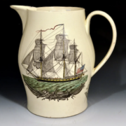 Liverpool creamware American ship jug, estimated at $3,500-$4,000