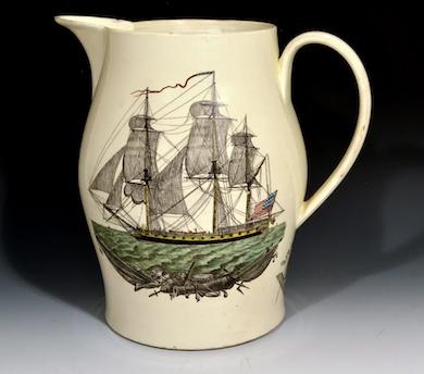 Intriguing creamware American ship jug to set sail on June 17