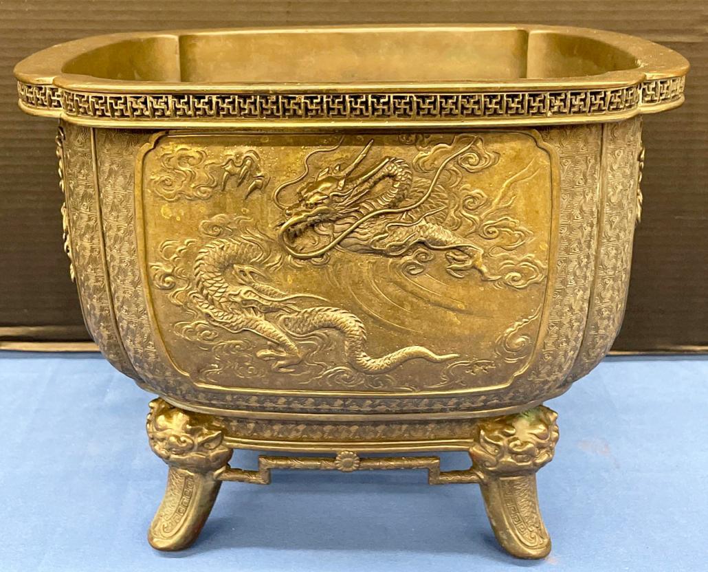 Japanese square bronze planter, estimated at $300-$500