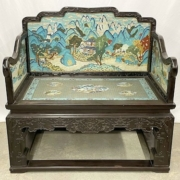 Fine Chinese rosewood and cloisonne bench, estimated at $6,000-$10,000