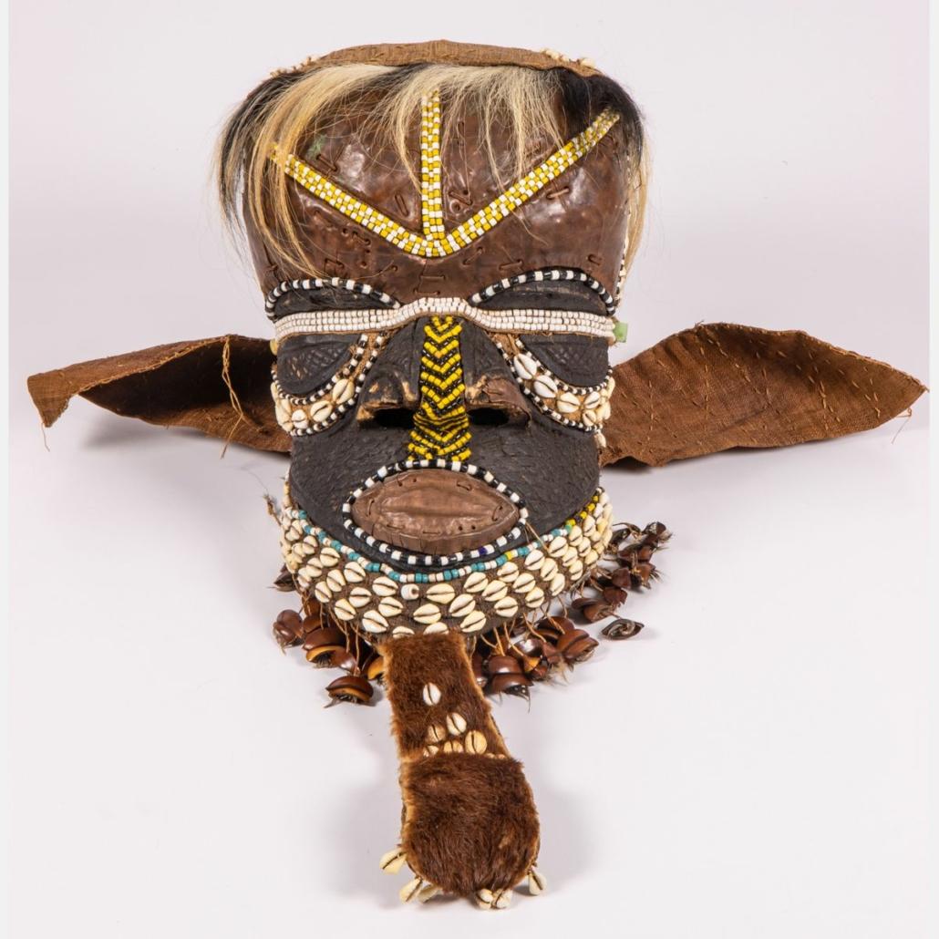 African Bwoom Royal Mask, Kuba Democratic Republic of Congo, estimated at $200-$400