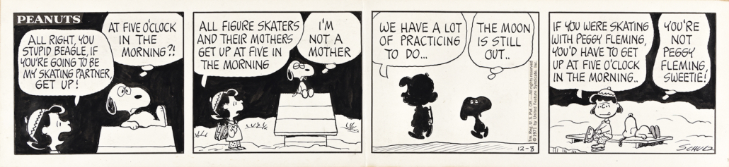 Charles Schulz, original 1971 four-panel 'Peanuts' comic strip, estimated at $15,000-$25,000