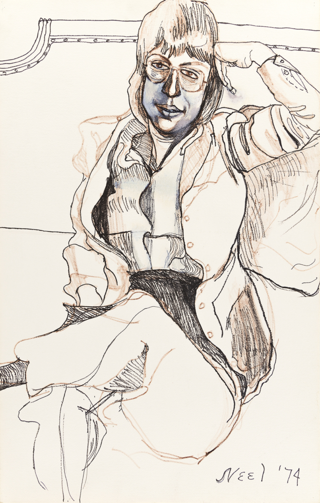 Alice Neel, 'Portrait of Harriet Lyons,' which sold for $87,500 and a record for a drawing by Neel