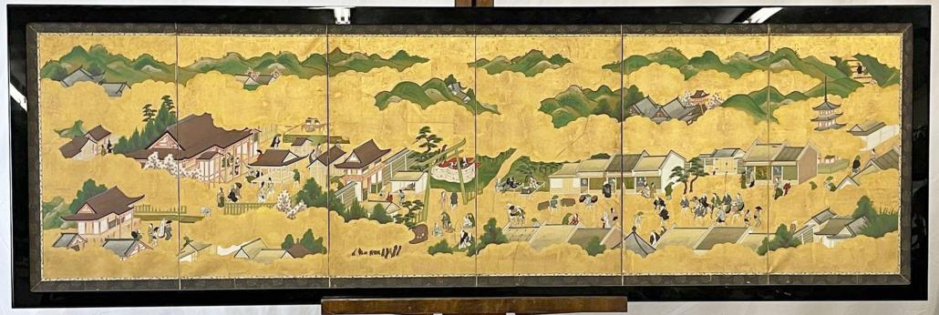 Japanese Kano school six-panel screen, estimated at $1,000-$2,000