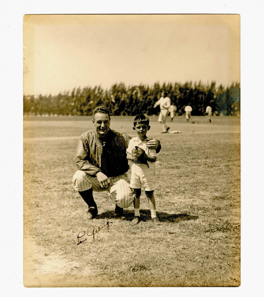 Circa-1933 photo of Lou Gehrig, signed by him, and with Babe Ruth visible in the background, estimated at $3,000-$4,000