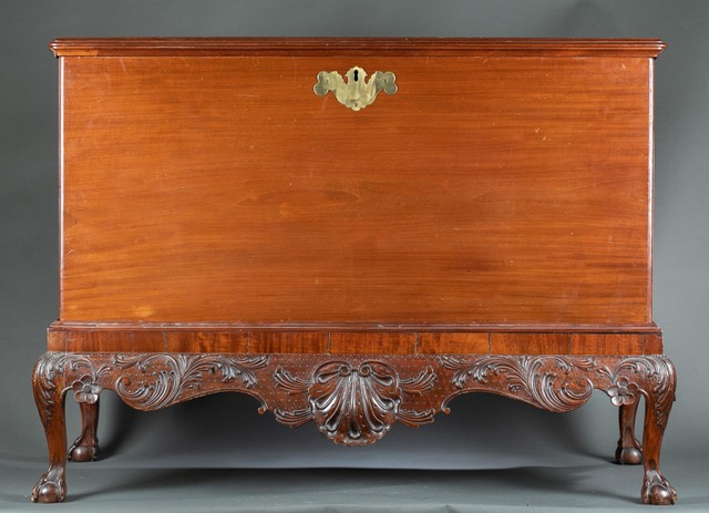 Mid-18th-century Irish George II mahogany chest-on-stand, estimated at $2,000-$3,000