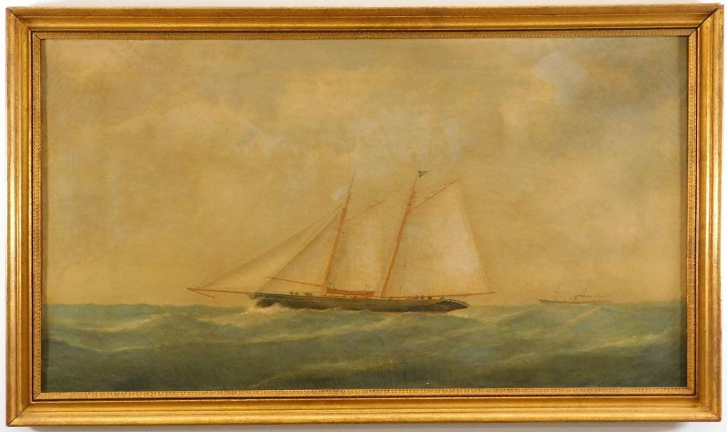 Maritime ship painting attributed to Thomas Buttersworth, estimated at $1,000-$2,000