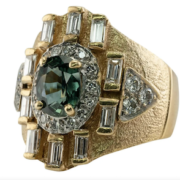 Vintage men's 14K yellow gold ring with green sapphire and diamonds, estimated at $4,500-$5,500