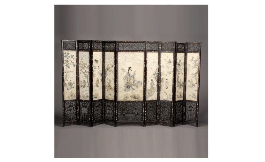 A late Qing dynasty Chinese folding screen sold in December 2011 for $50,000 plus the buyer's premium at Michaan's Auctions.