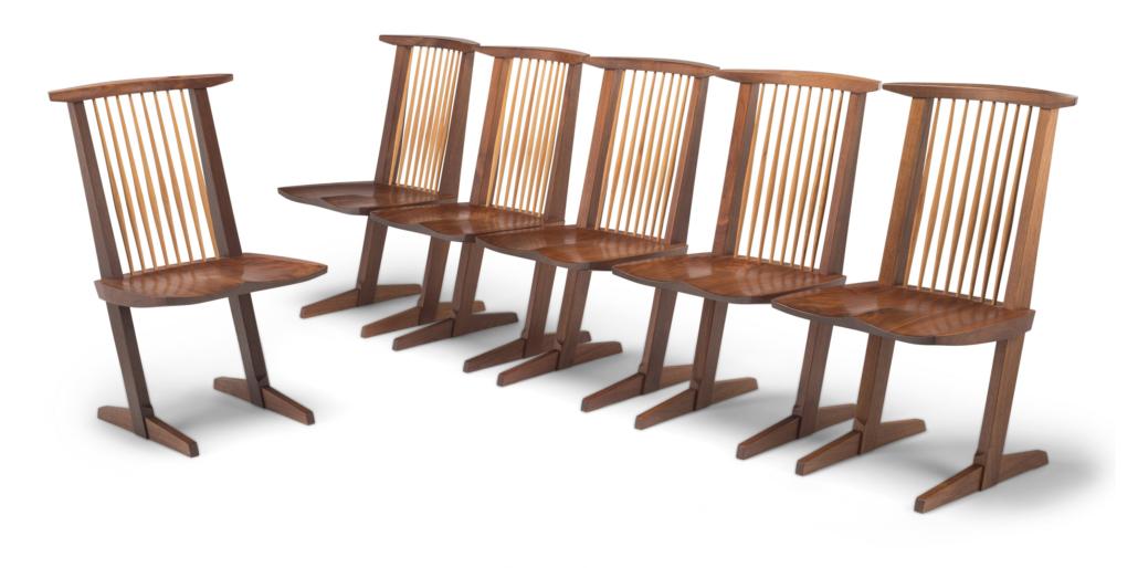 Mira Nakashima set of six Conoid dining chairs, estimated at $10,000-15,000