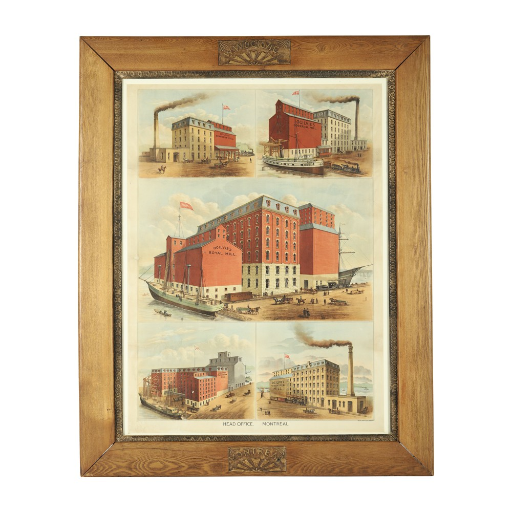 1890s Ogilvie's Flour Mills framed paper lithograph under glass, estimated at CA$3,000-$5,000