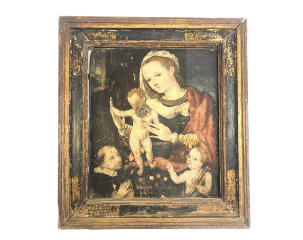Old Master painting of the Virgin Mary, the Christ Child, and two representations of John the Baptist, estimated at $300-$500