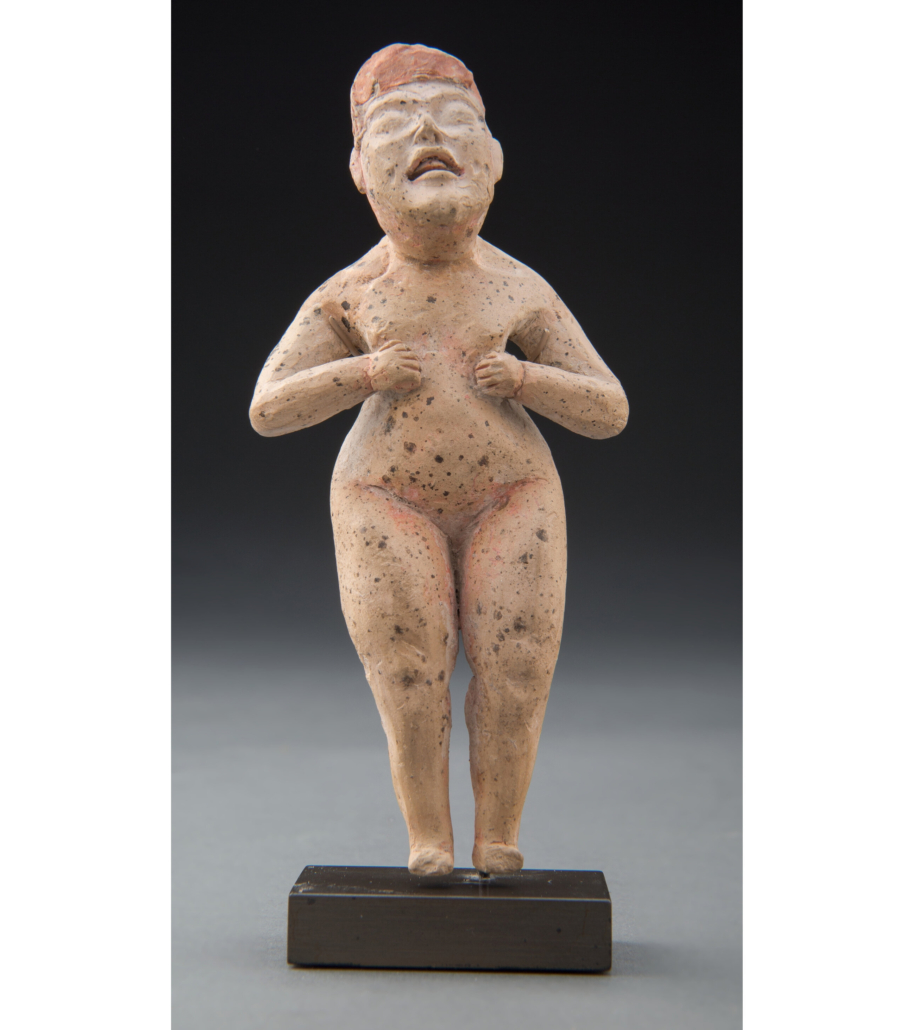 Olmec standing figure of a woman, estimated at $30,000-$50,000