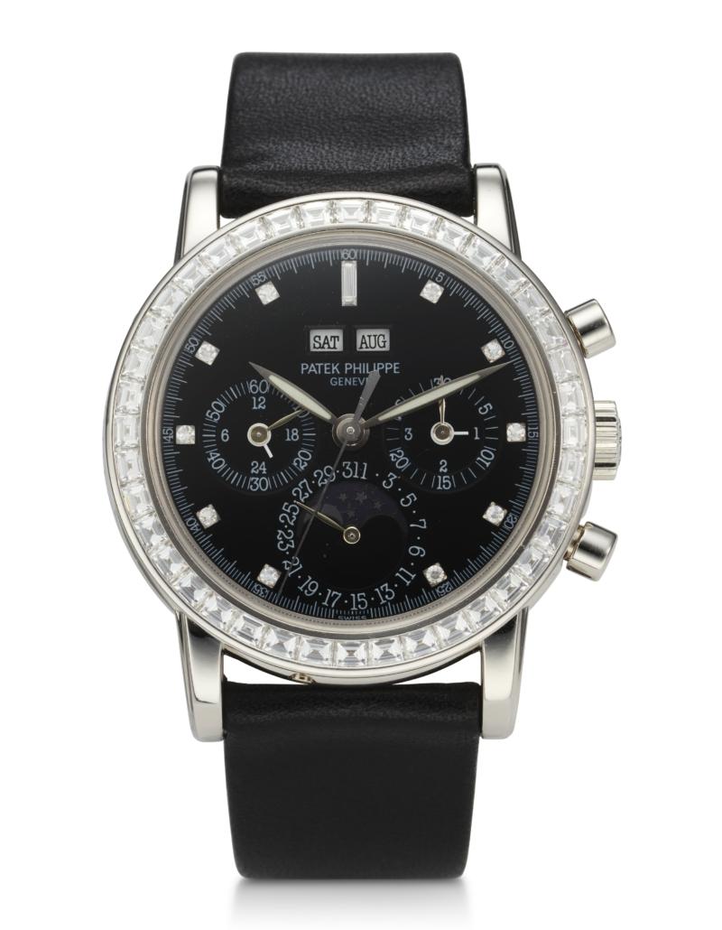 Patek Philippe platinum perpetual calendar chronograph, estimated at $150,000-$250,000. Courtesy of Christie's Images LTD 2021.