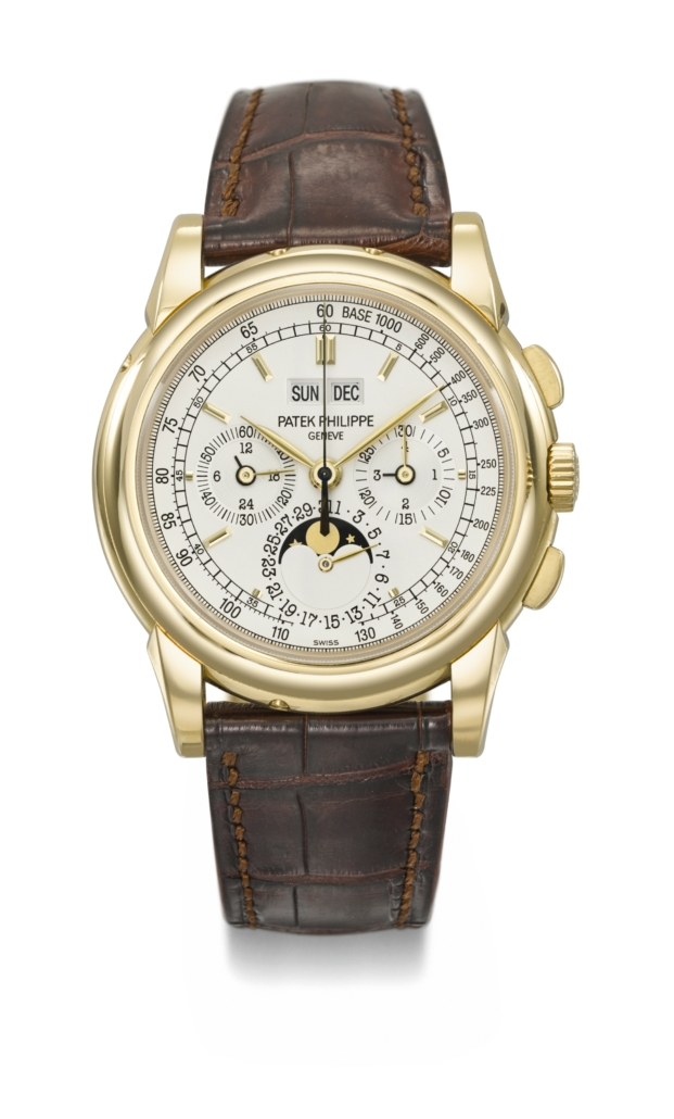 Patek Philippe perpetual calendar chronograph in yellow gold, estimated at $100,000-$150,000. Courtesy of Christie's Images LTD 2021.