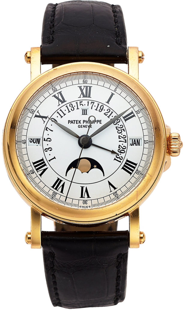 Patek Philippe with perpetual calendar, moon phase, and retrograde date, Ref. 5059R-001, which sold for $40,000