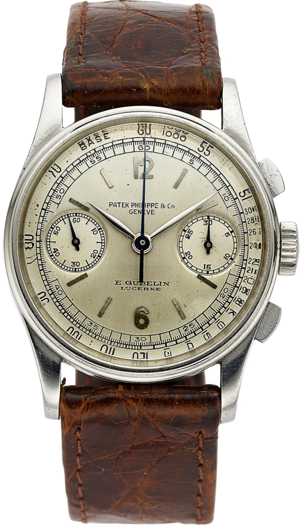 Patek Philippe stainless steel chronograph for E. Gubelin Lucerne, Ref. 130, which sold for $100,000
