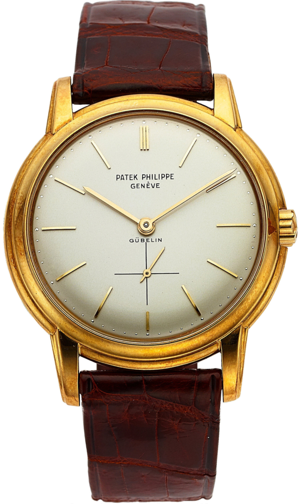 Patek Philippe yellow gold Ref. 2551 for Gubelin, which sold for $35,000