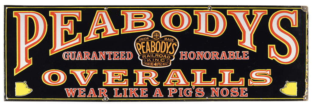 Peabody's Overalls single-sided porcelain sign from the 1910s, estimated at CA$3,500-$5,000