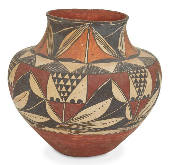 Laguna Pueblo polychrome pottery Olla, which sold for $4,062