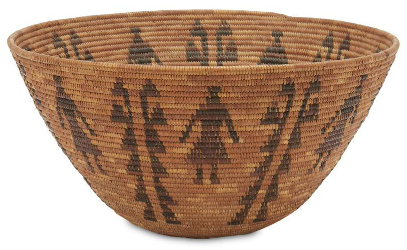 Yokuts polychrome pictorial basket, which sold for $5,312