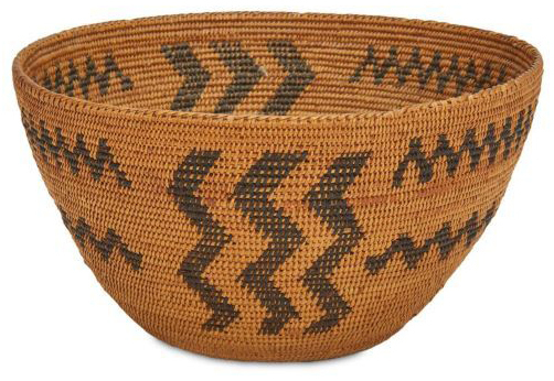 Central California basketry bowl, which sold for $4,687