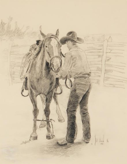 Bill Owen, 'First Saddle,' which sold for $10,000
