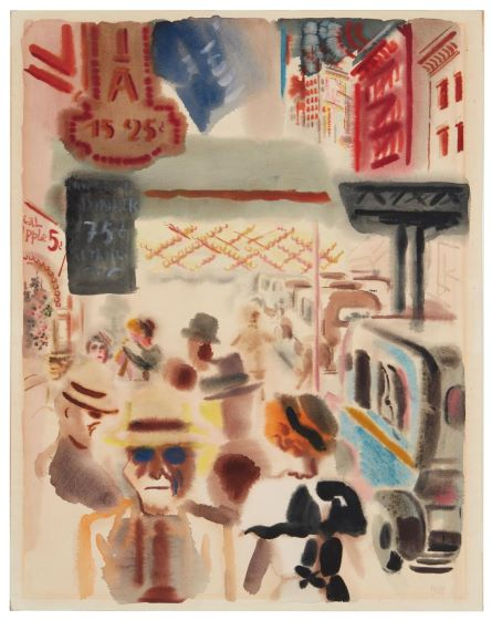 George Grosz, 'New York, Downtown Manhattan,' which sold for $31,250