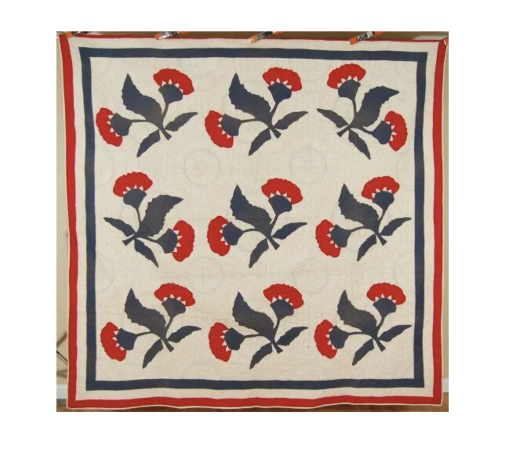 1870s red and green coxcomb quilt, estimated at $1,000-$1,200