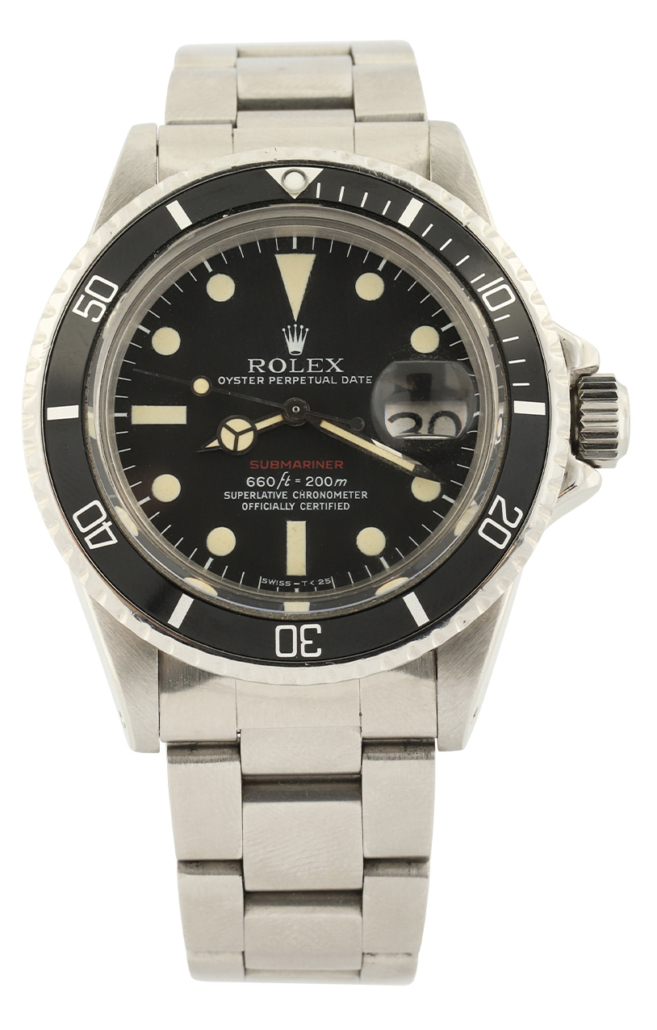 Rolex Reference 1680 red Submariner Date watch, estimated at $25,000-$30,000