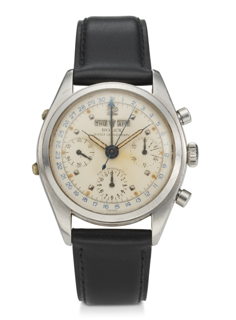 Rolex reference 6036 stainless steel triple calendar chronograph wristwatch, estimated at $80,000-$120,000. Courtesy of Christie's Images LTD 2021.