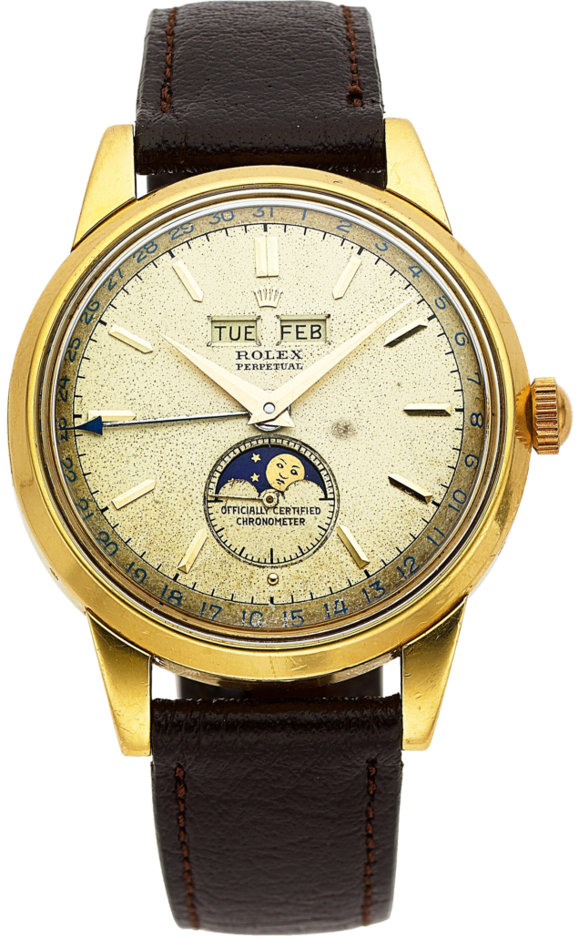 Rolex Padellone yellow gold triple calendar wristwatch with moon phases, which sold for $55,000